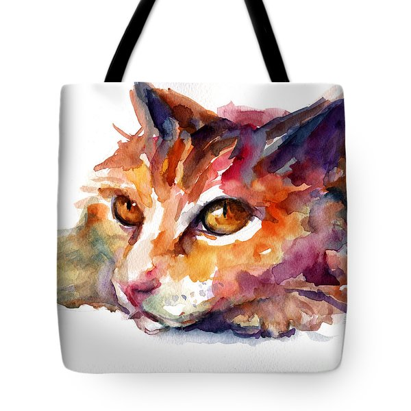 Watercolor Orange Tubby Cat Tote Bag