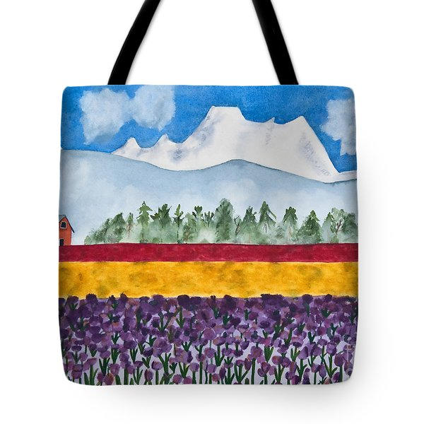 Watercolor Painting Landscape Of Skagit Valley Tulip Fields Art Tote Bag