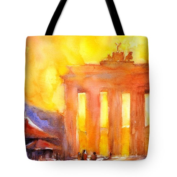 Watercolor Painting Of Brandenburg Gate Berlin Germany Tote Bag by Ryan Fox