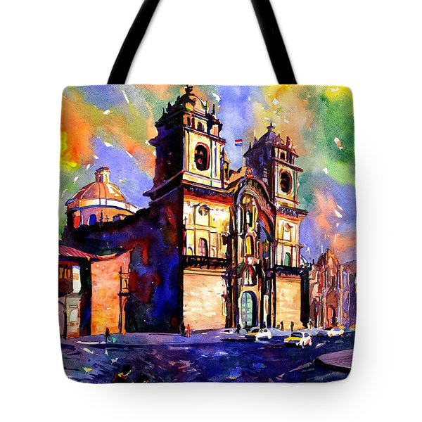 Watercolor Painting Of Church On The Plaza De Armas Cusco Peru Tote Bag by Ryan Fox