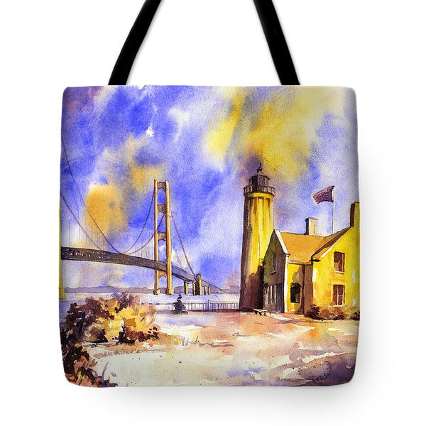 Watercolor Painting Of Ligthouse On Mackinaw Island- Michigan Tote Bag by Ryan Fox