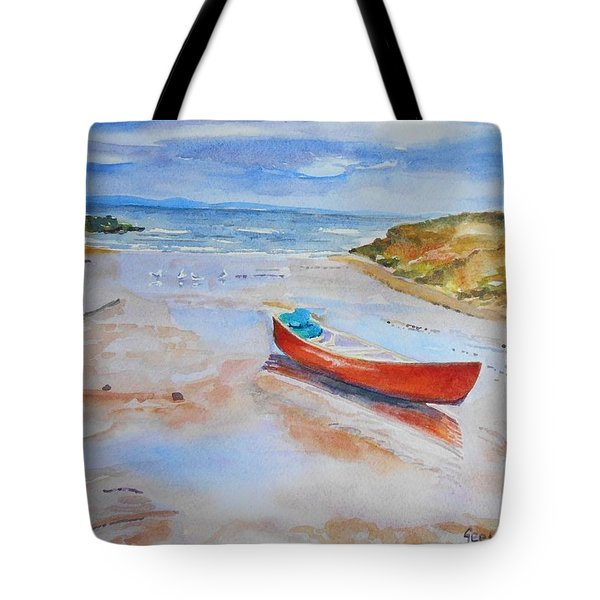 Watercolor Painting Of Red Boat Tote Bag