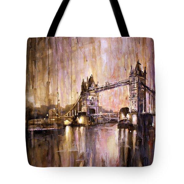 Watercolor Painting Of Tower Bridge London England Tote Bag by Ryan Fox