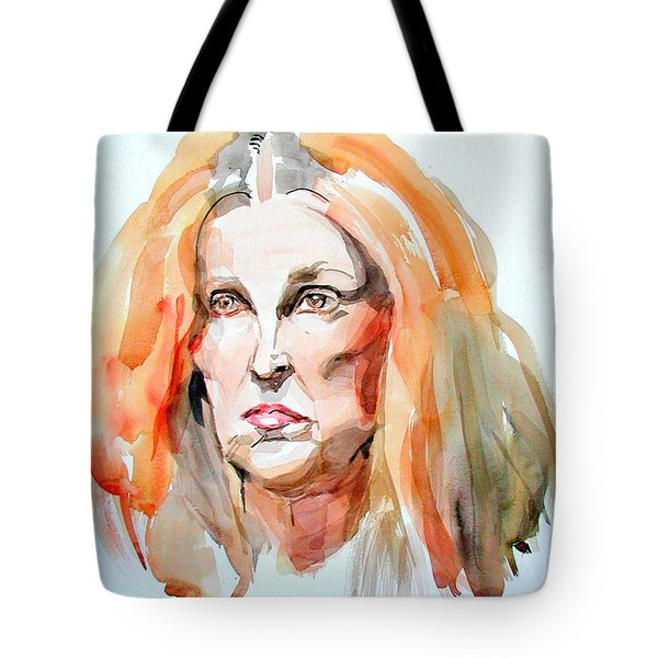 Tote Bag featuring the painting Watercolor Portrait Of A Mad Redhead by Greta Corens
