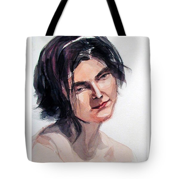 Watercolor Portrait Of A Young Pensive Woman With Headband Tote Bag