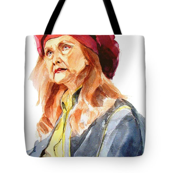 Watercolor Portrait Of An Old Lady Tote Bag