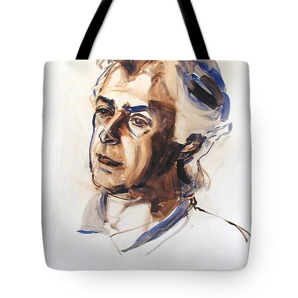 Tote Bag featuring the painting Watercolor Portrait Sketch Of A Man In Monochrome by Greta Corens