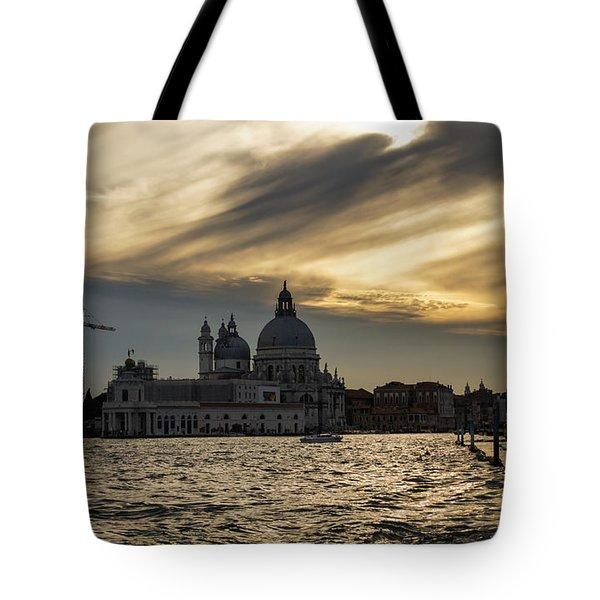 Tote Bag featuring the photograph Watercolor Sky Over Venice Italy by Georgia Mizuleva