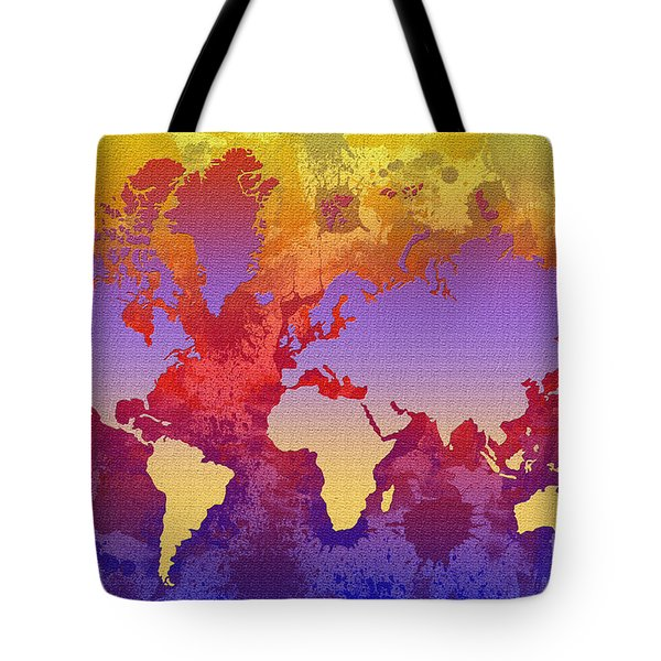 Watercolor Splashes World Map On Canvas Tote Bag by Zaira Dzhaubaeva
