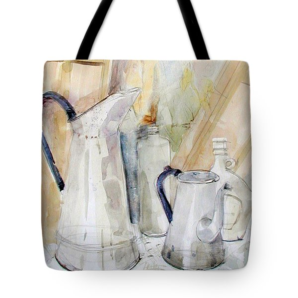 Watercolor Still Life Of White Cans Tote Bag