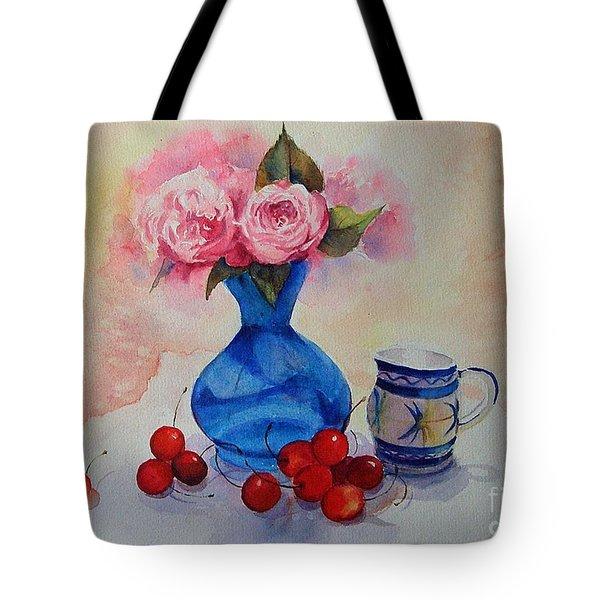 Watercolour Roses And Cherries Tote Bag
