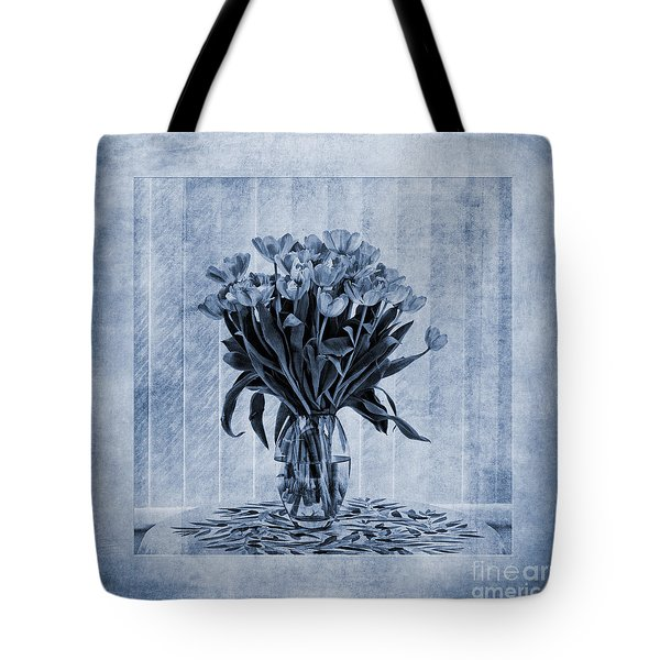 Watercolour Tulips In Blue Tote Bag by John Edwards
