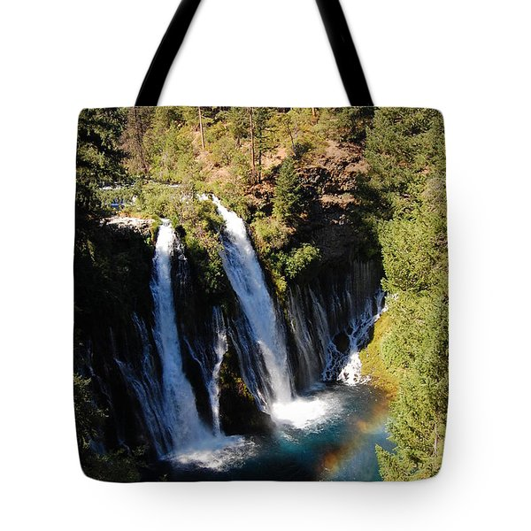 Tote Bag featuring the photograph Waterfall And Rainbow by Debra Thompson