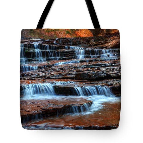 Waterfall Cascade North Creek Tote Bag by Bob Christopher