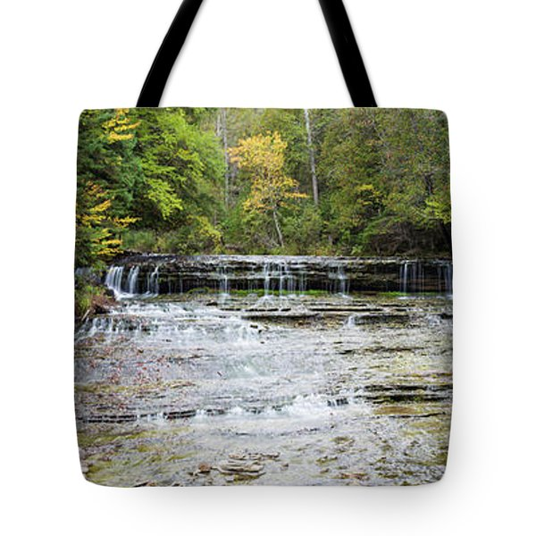 Waterfall In A Forest, Au Train Falls Tote Bag