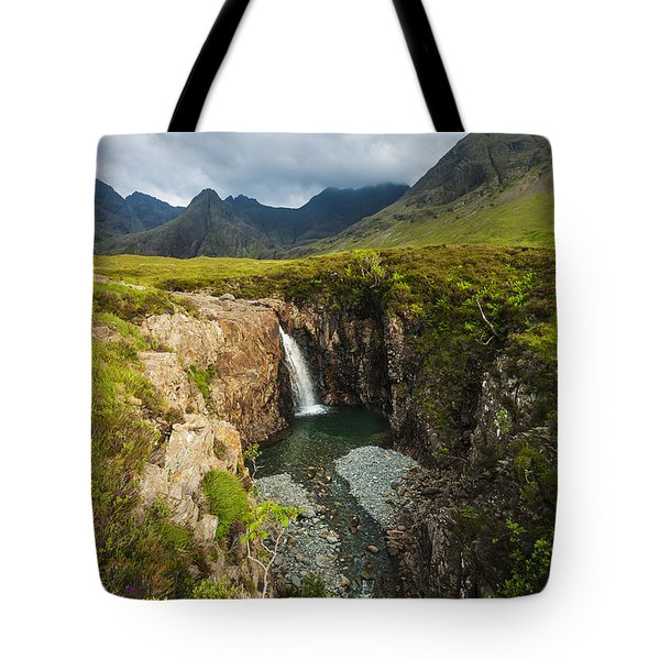 Waterfall In Coire Na Creiche The Fairy Tote Bag