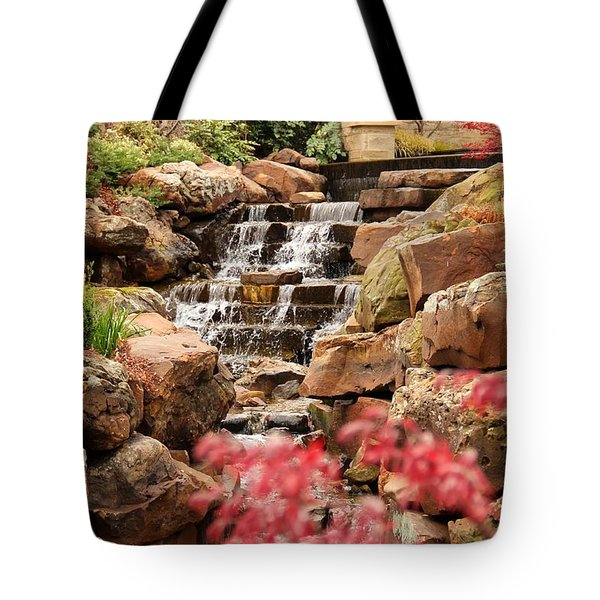 Tote Bag featuring the photograph Waterfall In The Garden by Elizabeth Budd