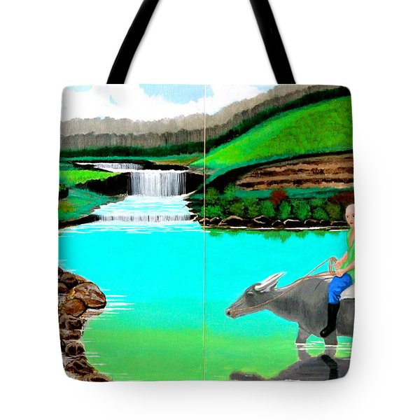 Tote Bag featuring the painting Waterfalls And Man Riding A Carabao by Cyril Maza