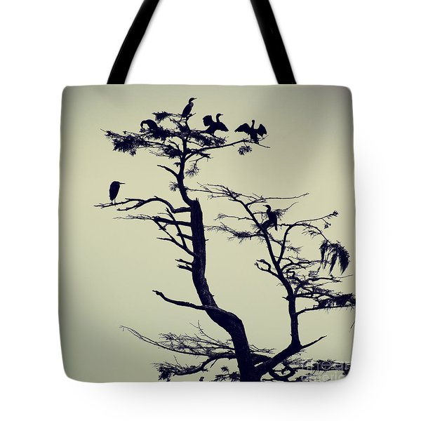 Tote Bag featuring the photograph Waterfowl Tree - Hipster Photo Square by Charmian Vistaunet