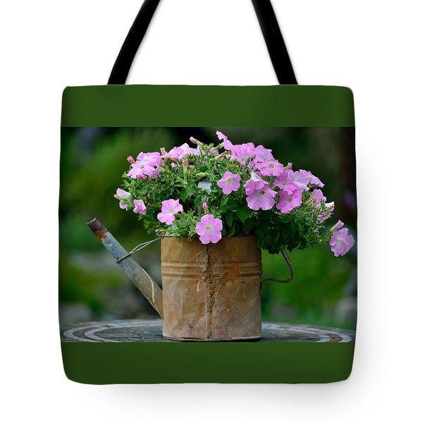 Tote Bag featuring the photograph Watering Can And Flowers by Kathy King