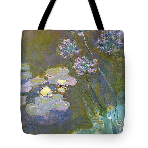 Waterlilies And Agapanthus Tote Bag