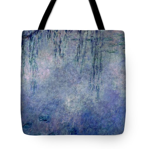 Waterlilies Two Weeping Willows Tote Bag by Claude Monet