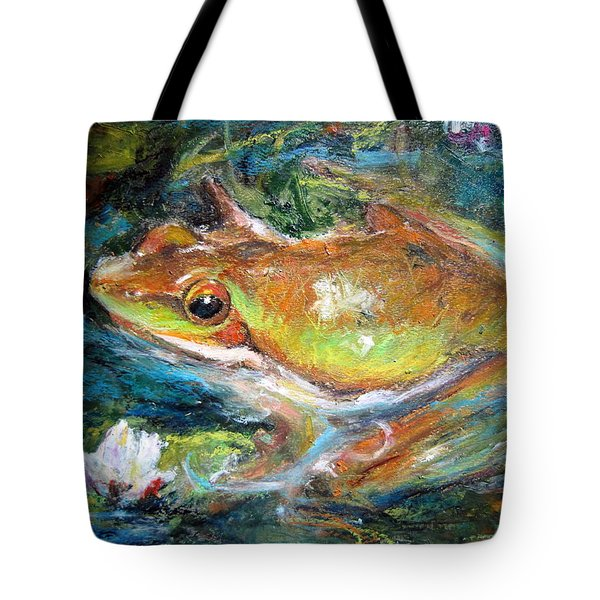 Waterlily And Frog Tote Bag
