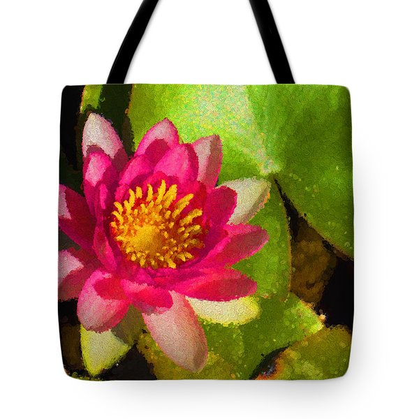 Waterlily Impression In Fuchsia And Pink Tote Bag