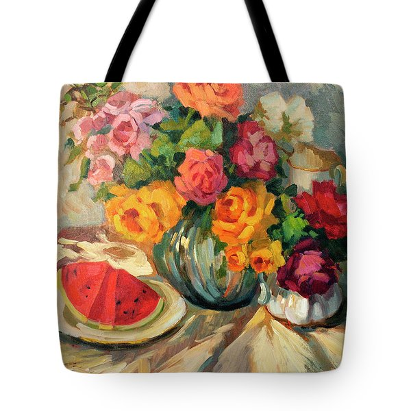 Watermelon And Roses Tote Bag
