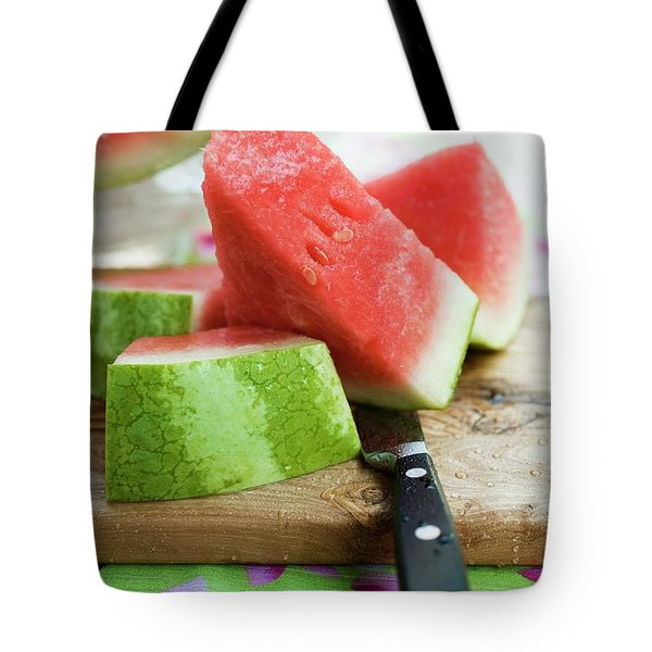 Watermelon, Cut Into Pieces, On A Wooden Board Tote Bag