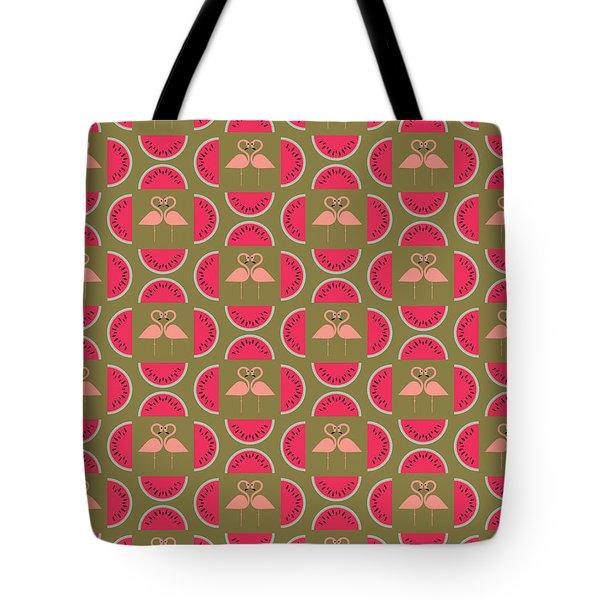 Watermelon Flamingo Print Tote Bag by Susan Claire