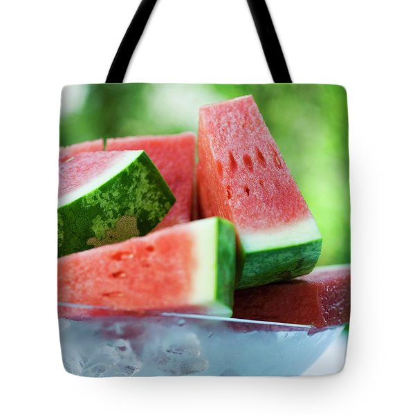 Watermelon Wedges In A Bowl Of Ice Cubes Tote Bag