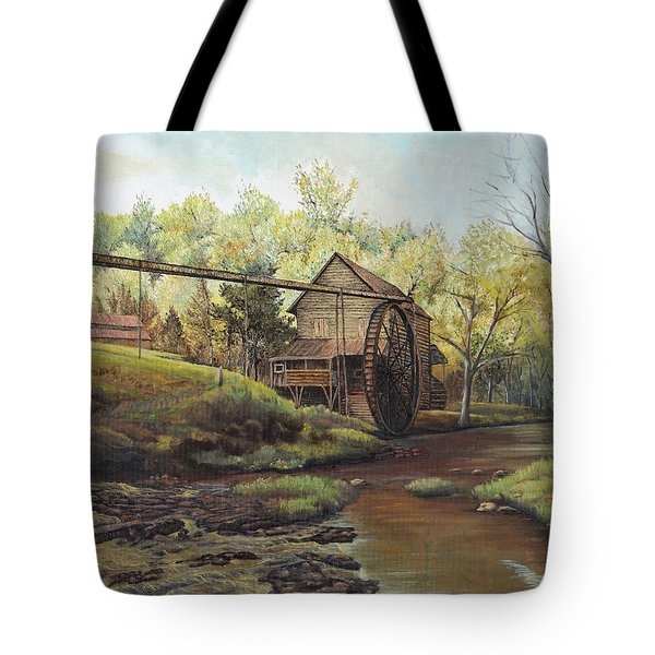 Tote Bag featuring the painting Watermill At Daybreak  by Mary Ellen Anderson