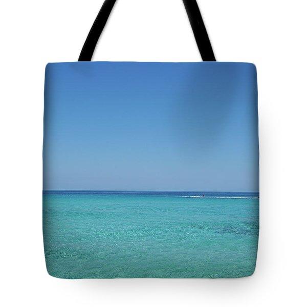 Waterskiing In Llevant Beach Tote Bag