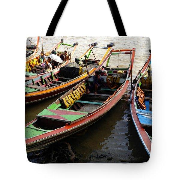 Watertaxis At The Yangon River Nan Thida Ferry Terminal Yangon Myanmar Tote Bag