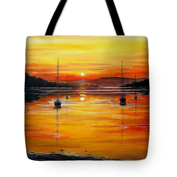 Watery Sunset At Bala Lake Tote Bag by Andrew Read