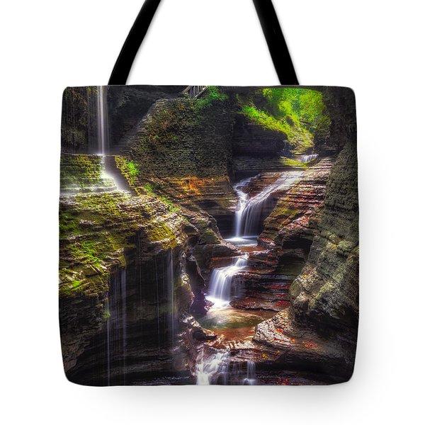 Watkins Glen Rainbow Falls Tote Bag