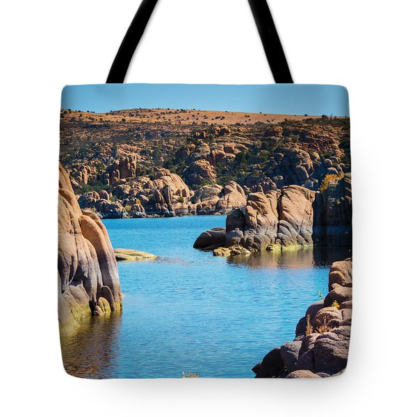 Watson Lake In The Fall Tote Bag by Diane Wood