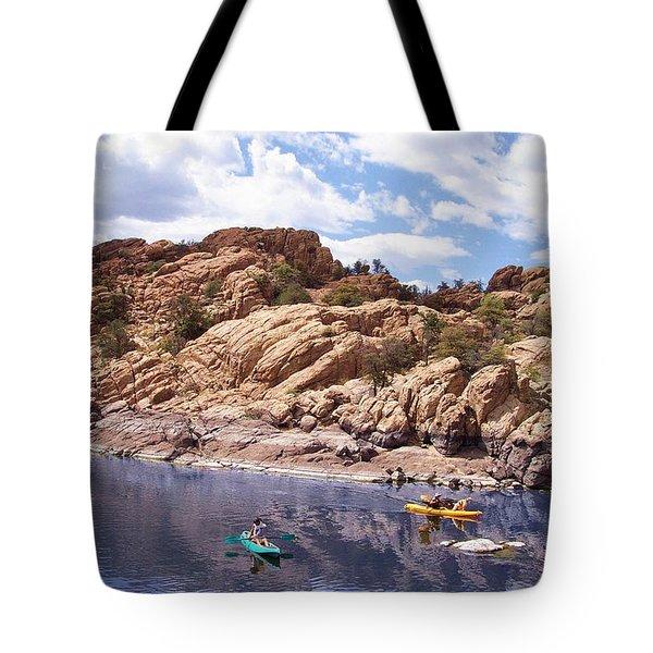 Watson Lake Kayaks Tote Bag