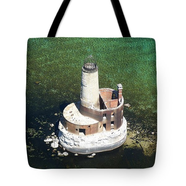 Waugoshance Lighthouse Tote Bag by Keith Stokes
