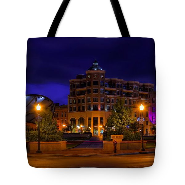 Tote Bag featuring the photograph Wausau's 400 Block After Dark by Dale Kauzlaric