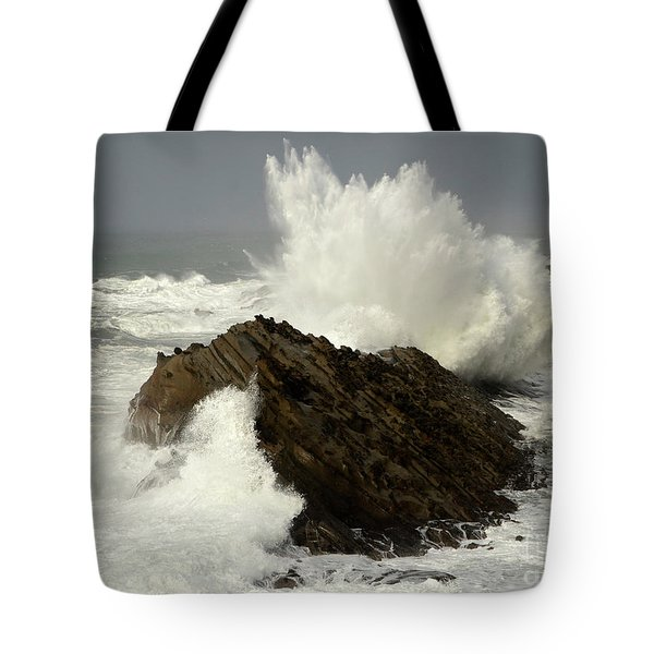 Wave At Shore Acres Tote Bag by Bob Christopher