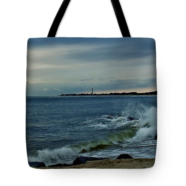 Wave Crashing At Cape May Cove Tote Bag by Ed Sweeney