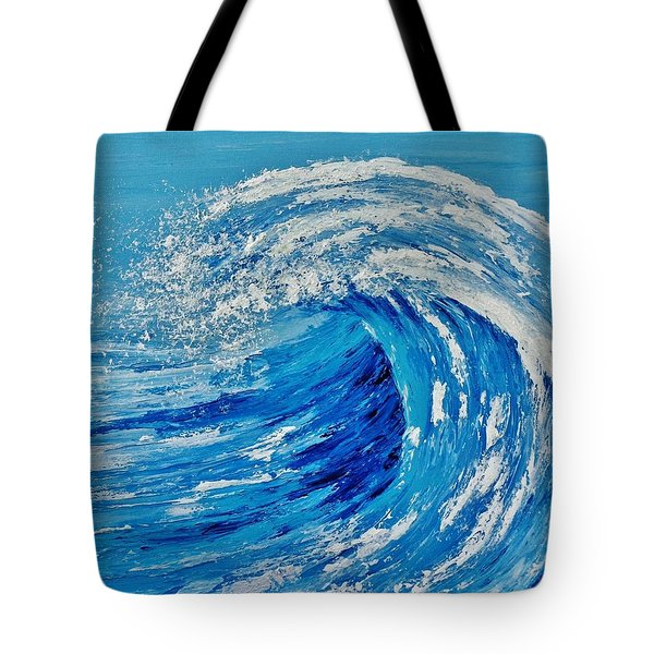 Tote Bag featuring the painting Wave by Katherine Young-Beck
