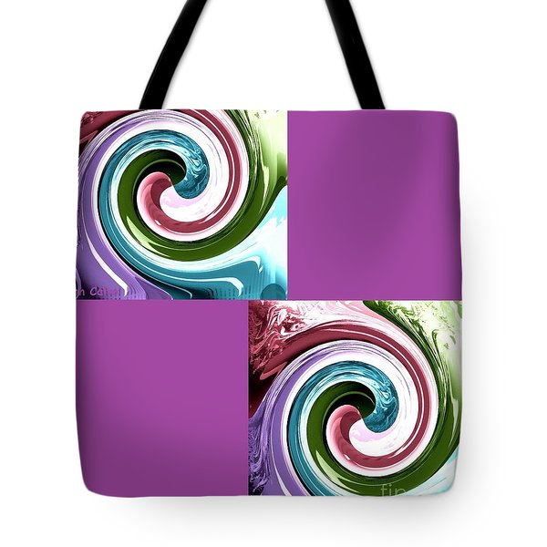 Tote Bag featuring the digital art Wave Of Purple by Ann Calvo
