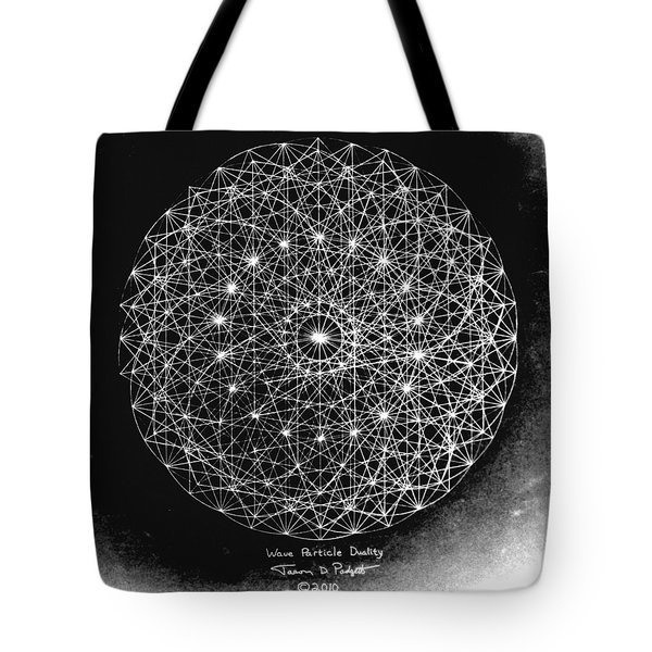 Tote Bag featuring the drawing Wave Particle Duality Black White by Jason Padgett