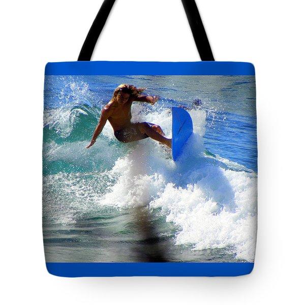 Wave Rider Tote Bag by Karen Wiles