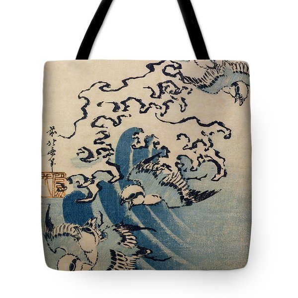 Waves And Birds Tote Bag