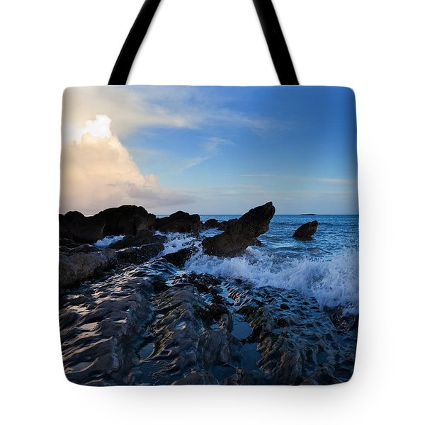 Waves And Rocks , Dungarvan Bay, County Tote Bag