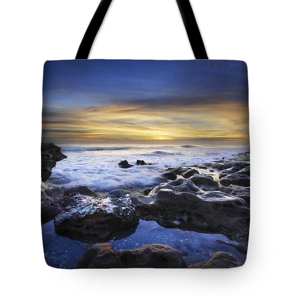 Waves At Coral Cove Beach Tote Bag by Debra and Dave Vanderlaan